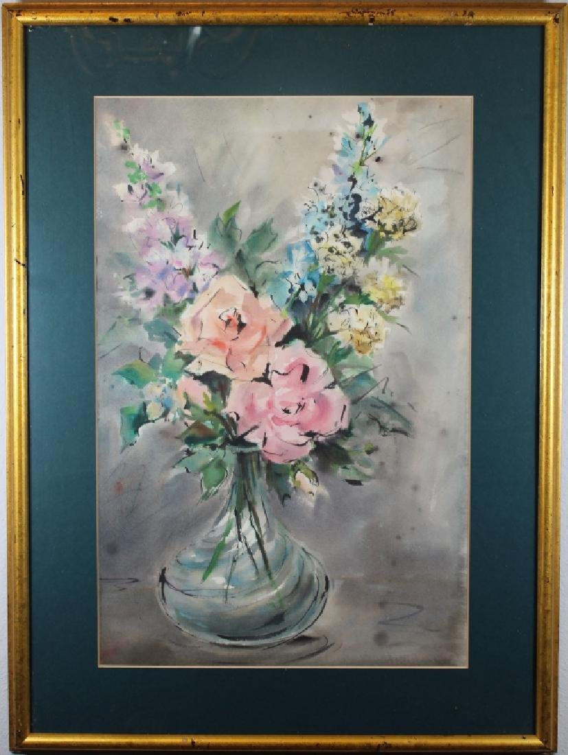 20th Century Watercolor of Bouquet of Flowers
