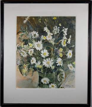 Signed 85 Watercolor of an Arrangement of Flowers