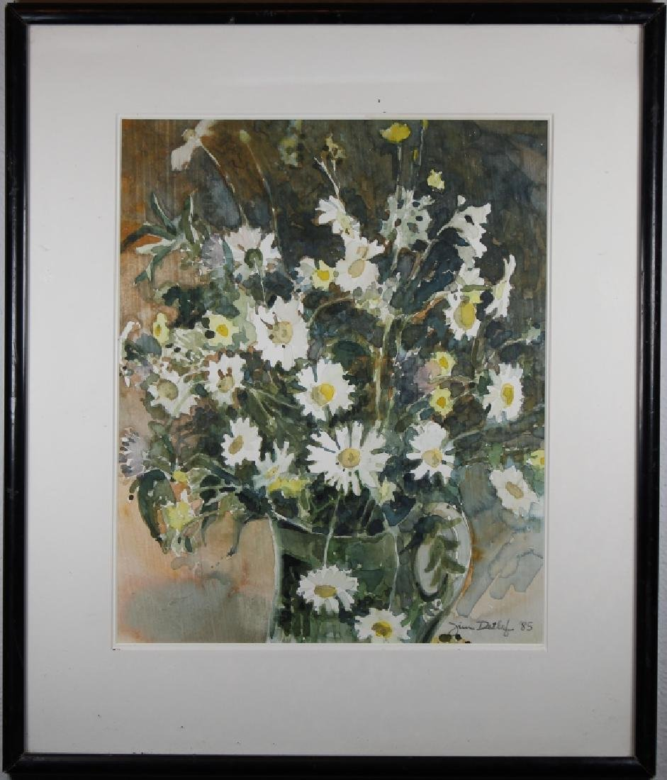 Signed '85 Watercolor of an Arrangement of Flowers