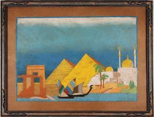 Vintage Pastel Painting of Nile River Signed