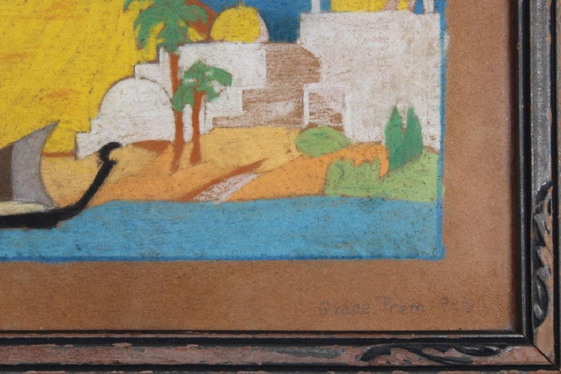 Vintage Pastel Painting of Nile River, Signed - 3