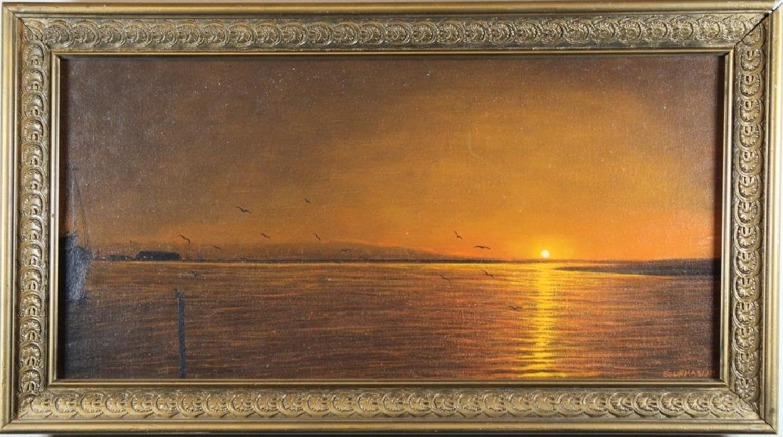 Sourkasian, Signed Coastal Scene at Sunset