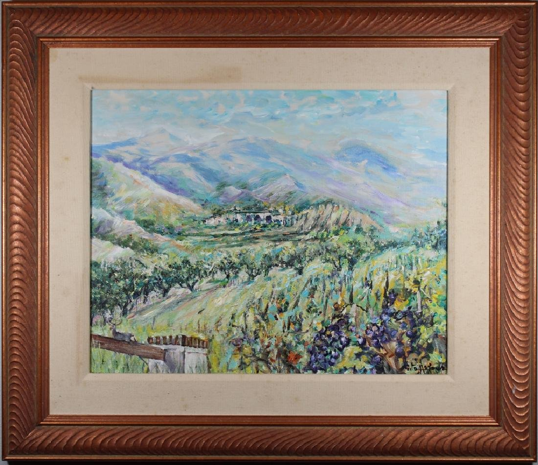 Impressionist Painting of Village in Landscape