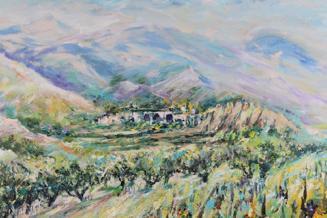 Impressionist Painting of Village in Landscape - 2