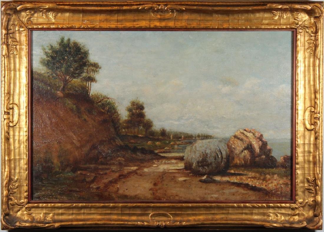 American School, 19th C. Coastal Scene. Signed.