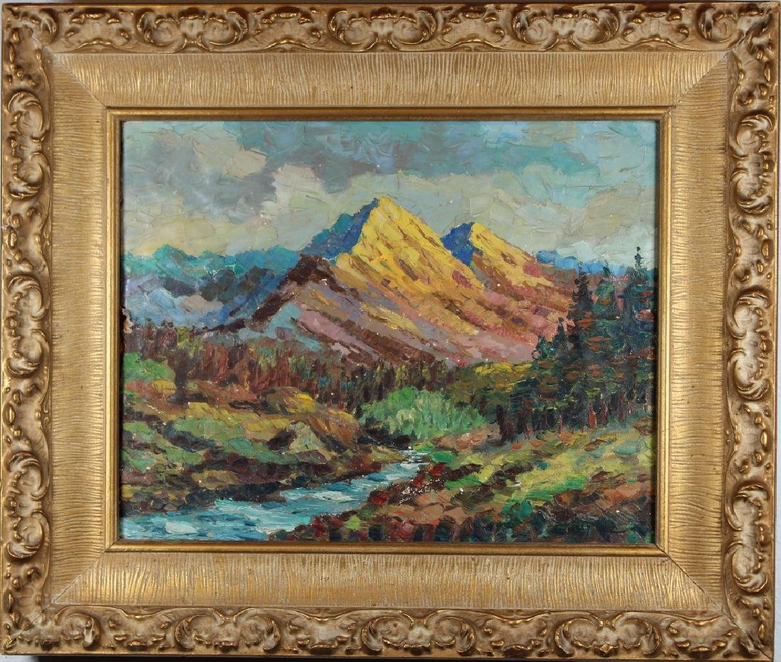 Signed Impressionist Painting of Western Landscape