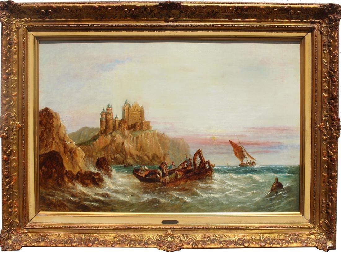 1872 Signd English School Coastal Scene w/ figures