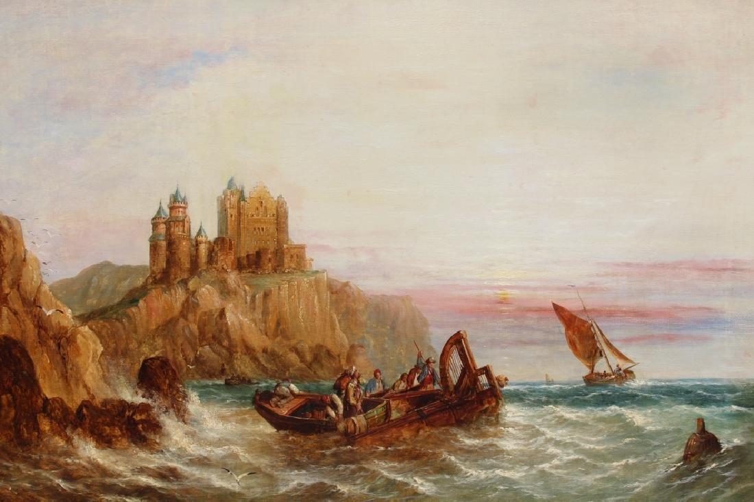 1872 Signd English School Coastal Scene w/ figures - 2