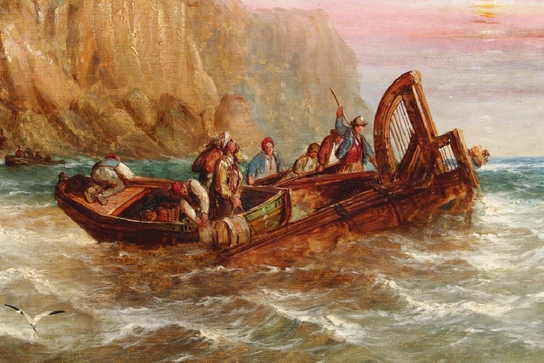 1872 Signd English School Coastal Scene w/ figures - 4