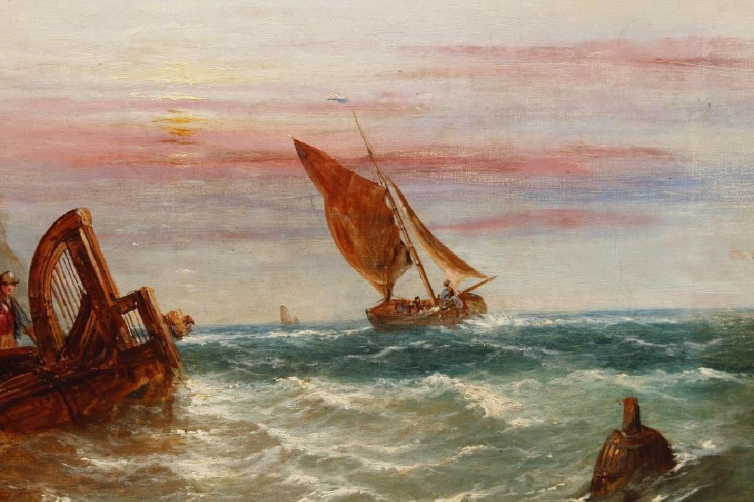 1872 Signd English School Coastal Scene w/ figures - 5