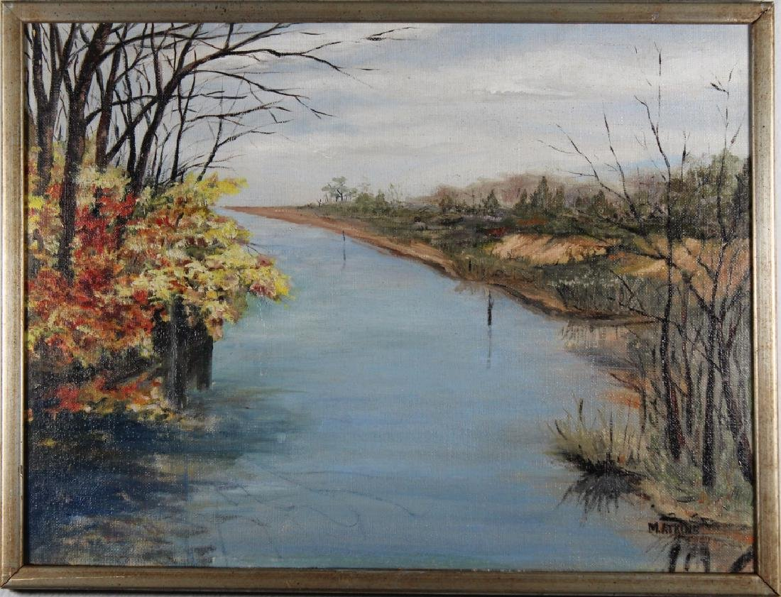 20th C. American School River Landscape, Signed