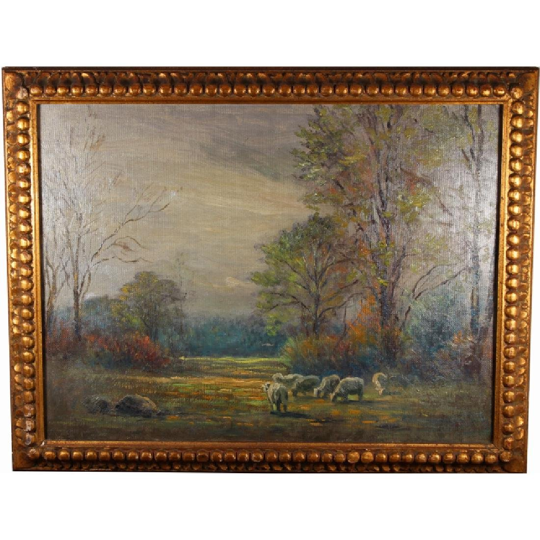 American School, 19th C. Painting of Sheep in a La