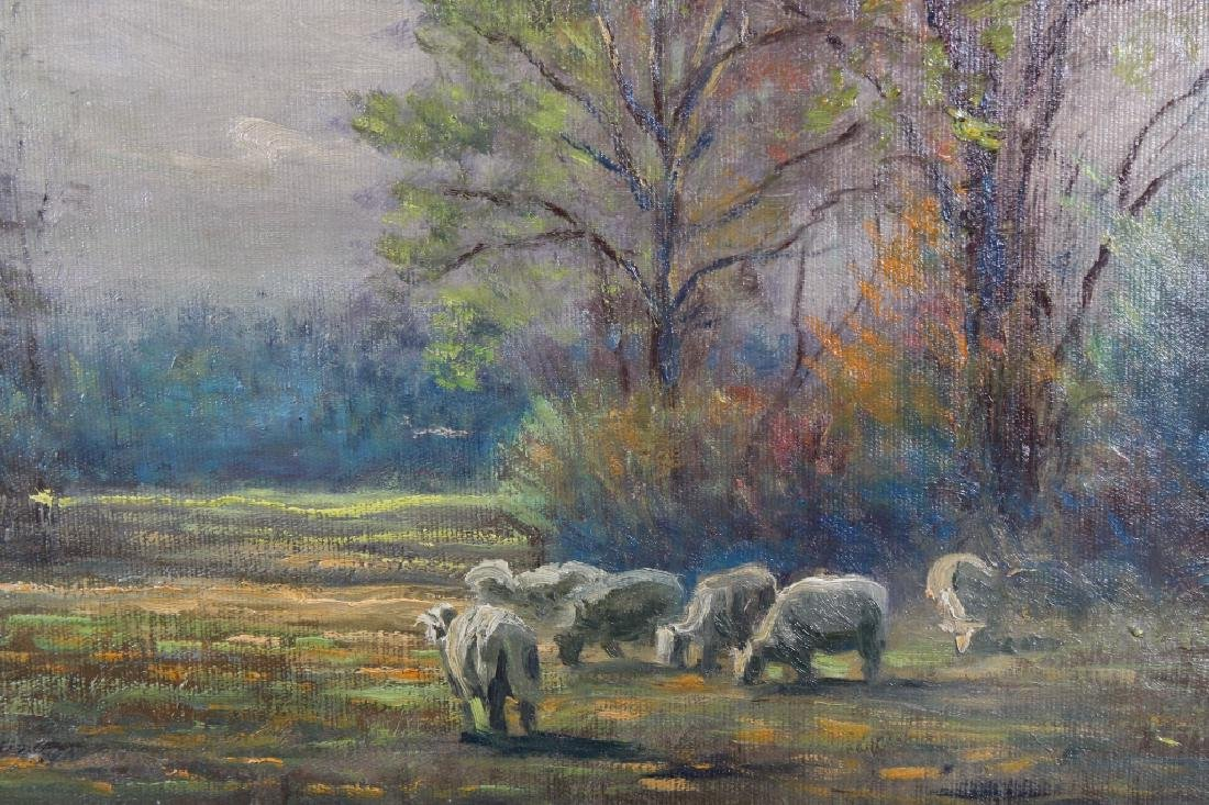 American School, 19th C. Painting of Sheep in a La - 2
