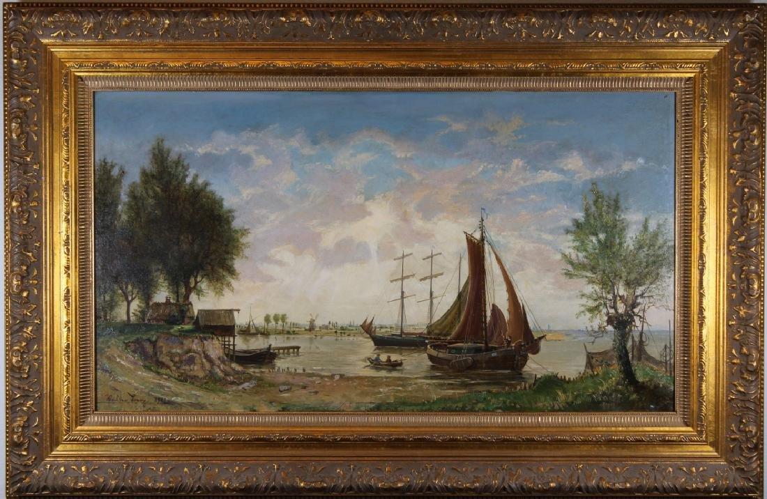 Signed, European School Harbor Scene