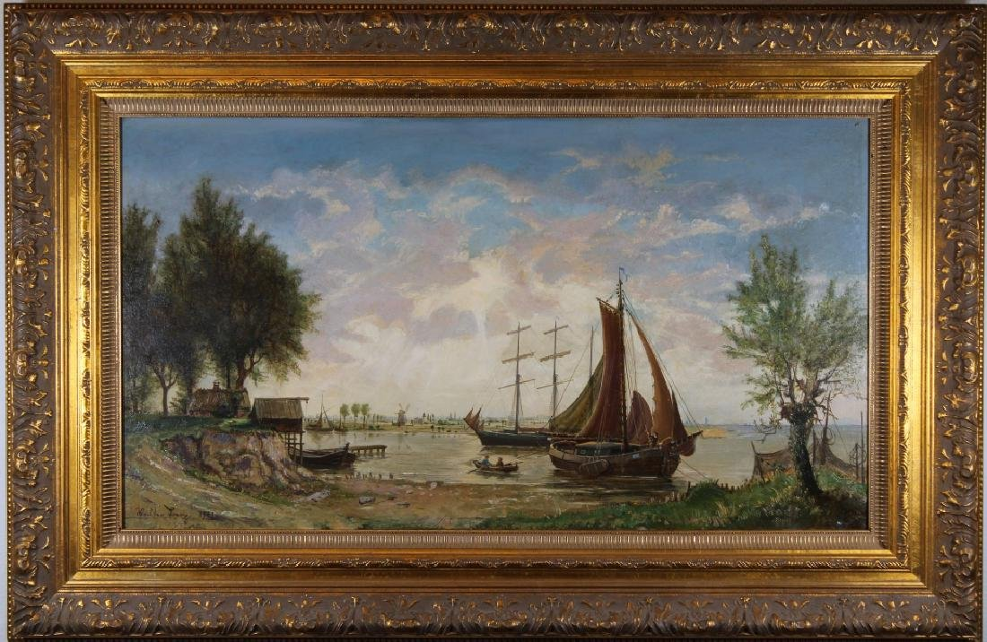 Signed, European School Harbor Scene