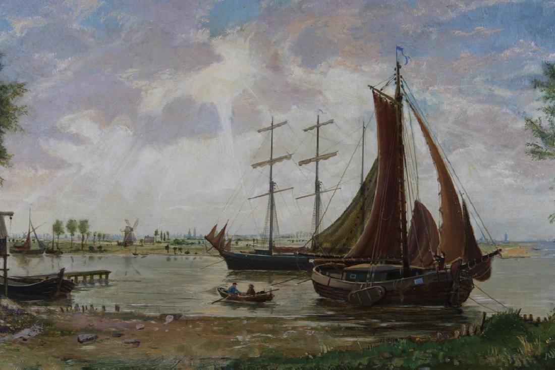 Signed, European School Harbor Scene - 2