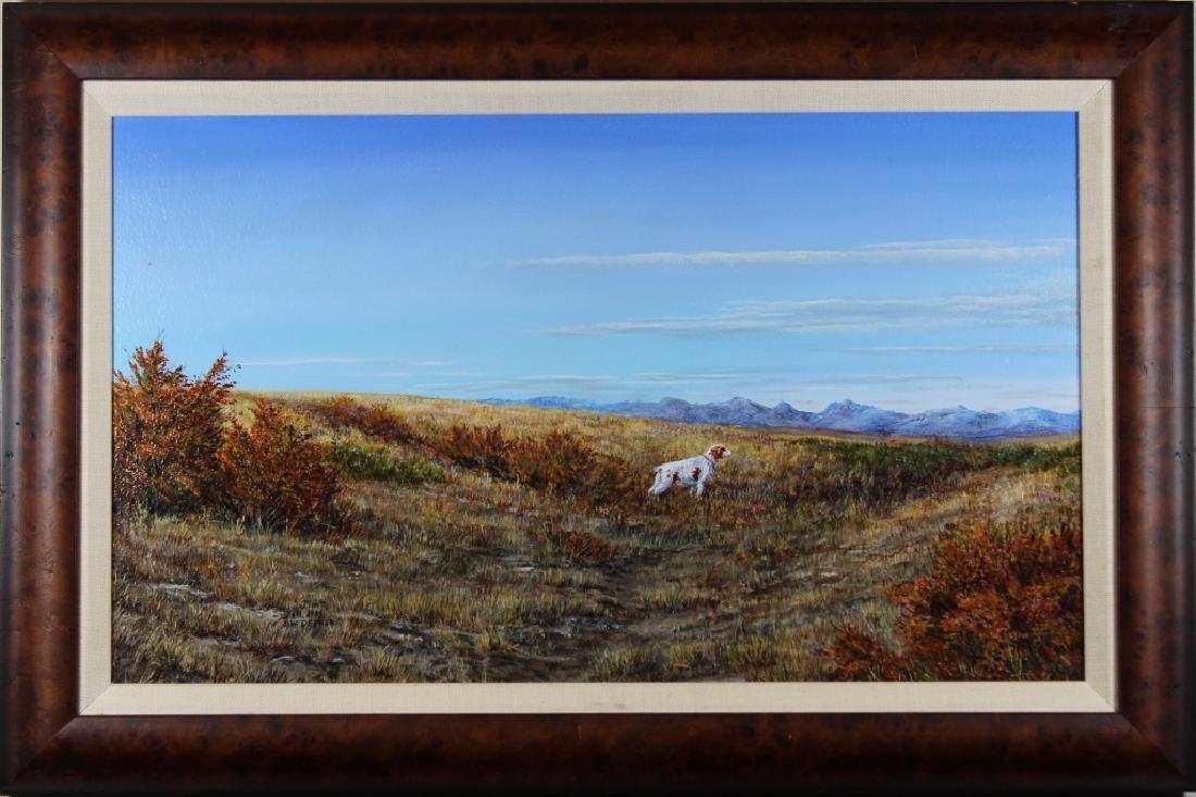 Depner, Signed Western Landscape with Hound