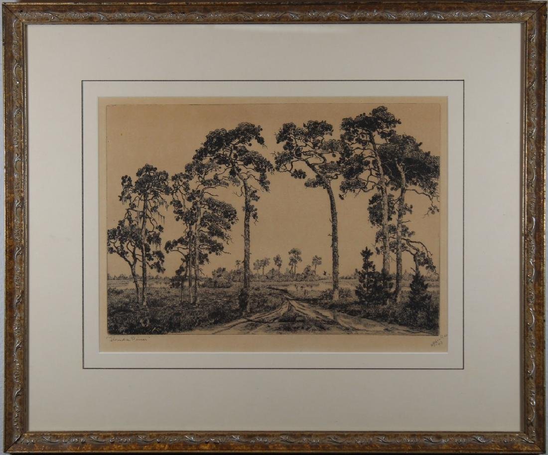 """1943 """"Florida Pines"""" Etching, Signed"""