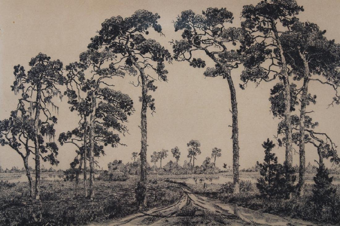 """1943 """"Florida Pines"""" Etching, Signed - 2"""