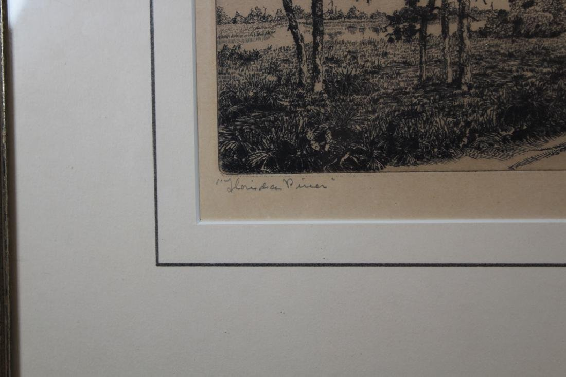 """1943 """"Florida Pines"""" Etching, Signed - 3"""
