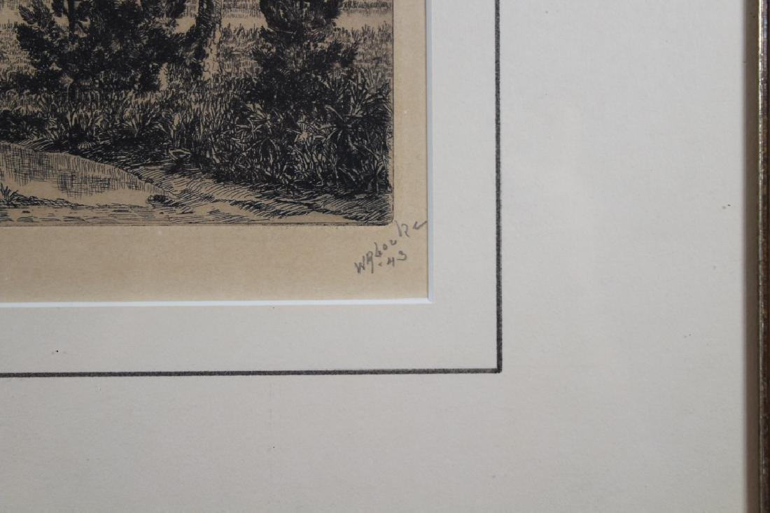 """1943 """"Florida Pines"""" Etching, Signed - 4"""