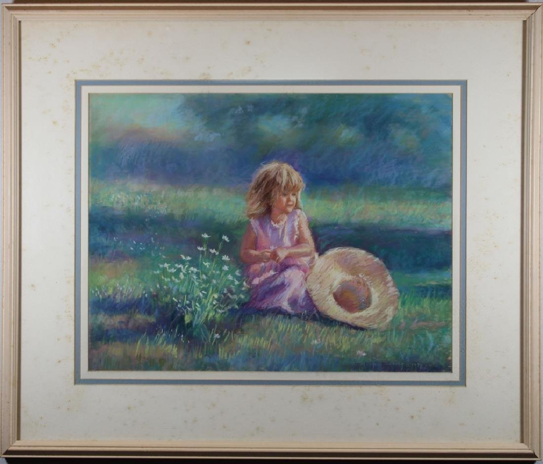 Mazzoni, Signed Pastel of Young Girl in landscape