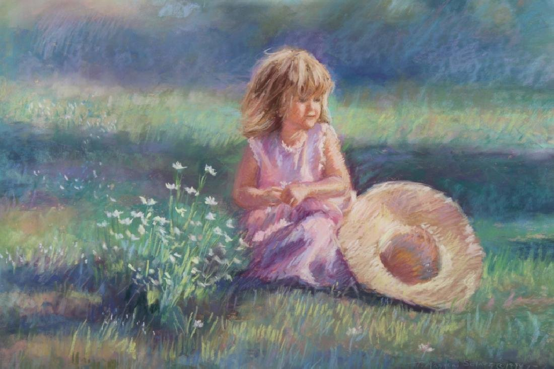 Mazzoni, Signed Pastel of Young Girl in landscape - 2