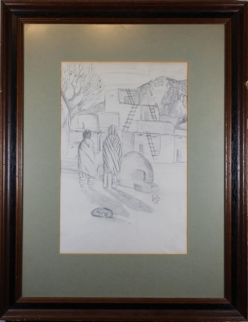 Deryl Lujan, Signed Sketch of a Pueblo Scene