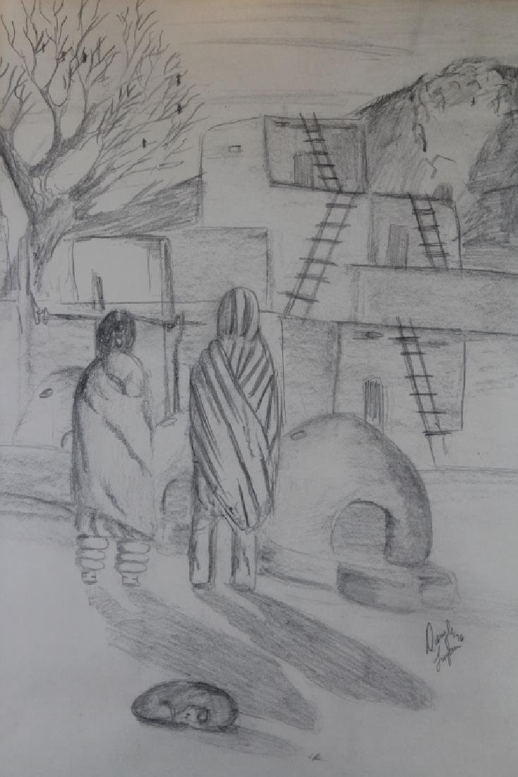 Deryl Lujan, Signed Sketch of a Pueblo Scene - 2