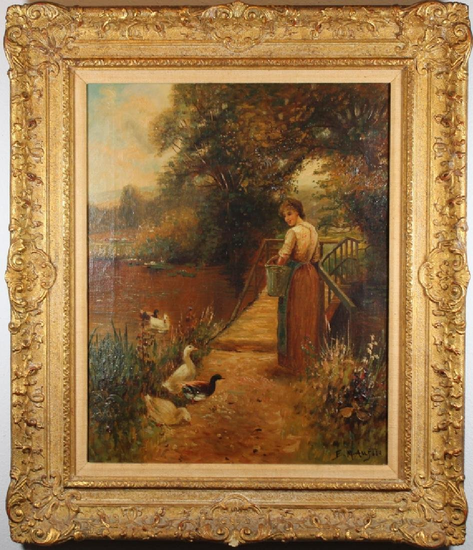 Signed, 19th C. Painting of Woman Feeding Ducks