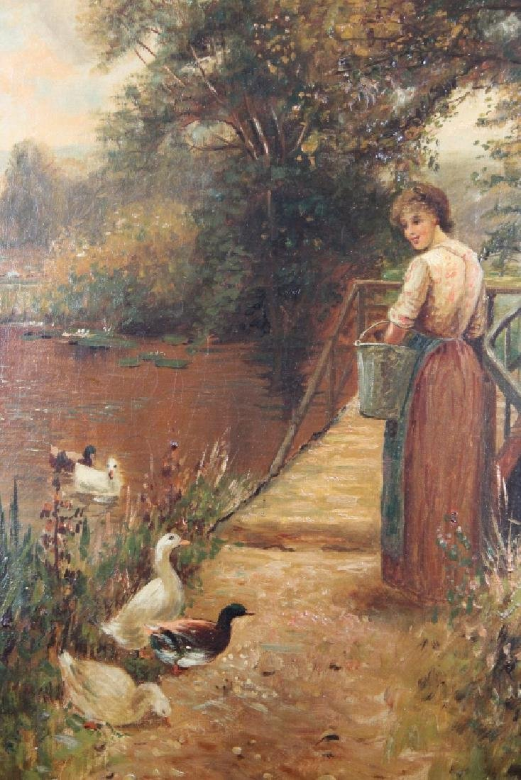 Signed, 19th C. Painting of Woman Feeding Ducks - 2