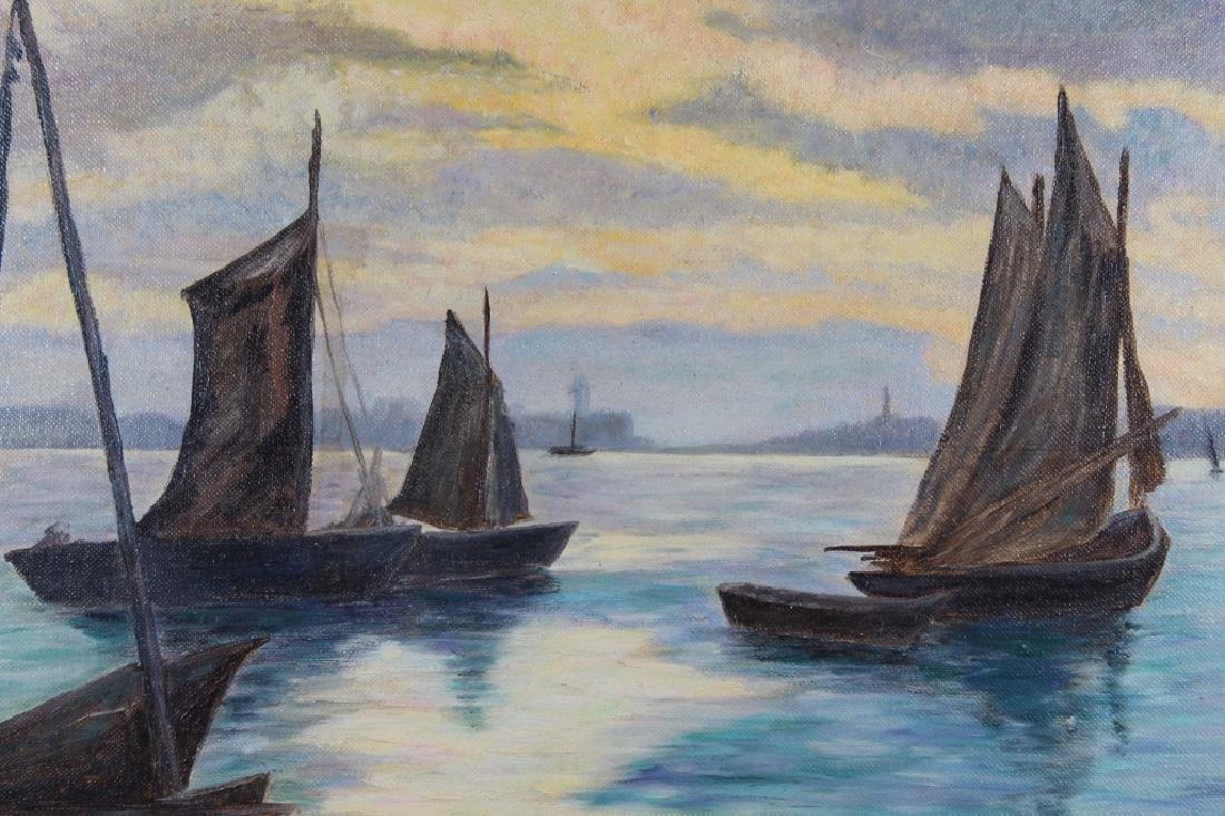 Crites '54 Signed Harbor Scene with Sailboats - 2