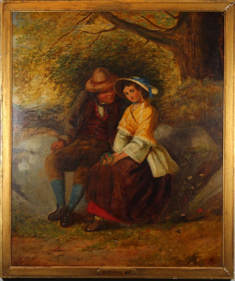 1893 Painting of a Romantic Couple in a Forest