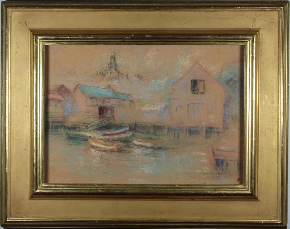 American School, Signed 20th C Harbor Scene Pastel