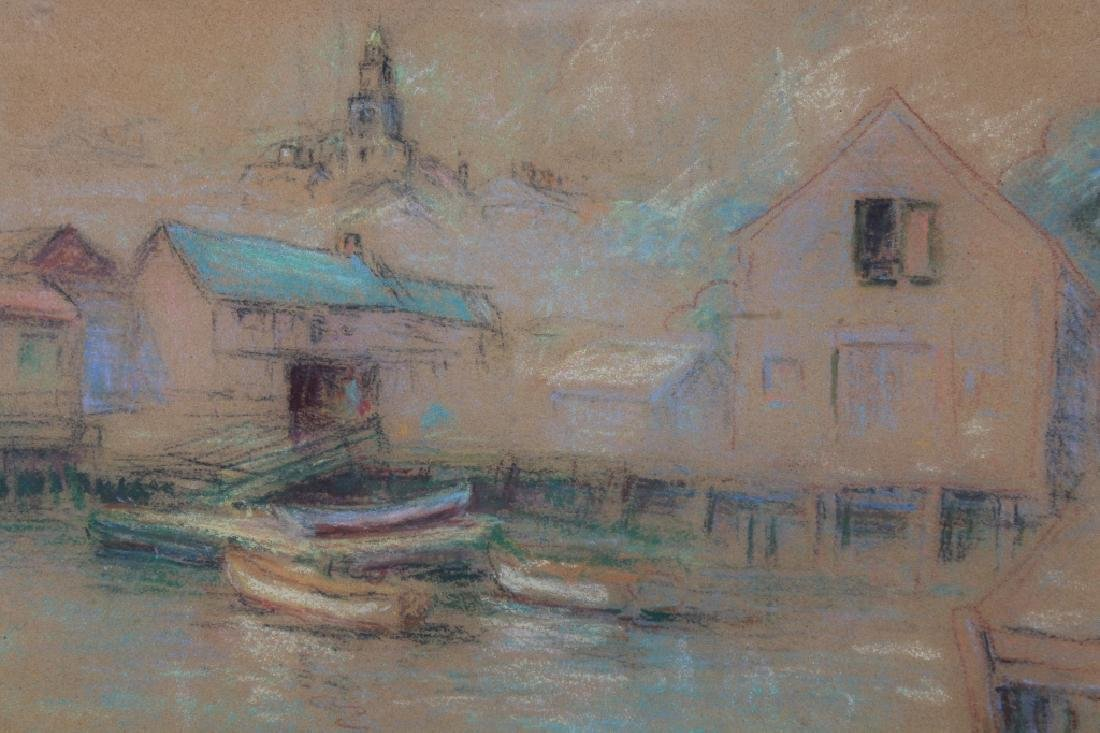 American School, Signed 20th C Harbor Scene Pastel - 2