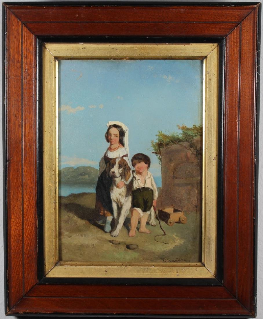 19th C. Painting of a Young Girl & Boy with Dog