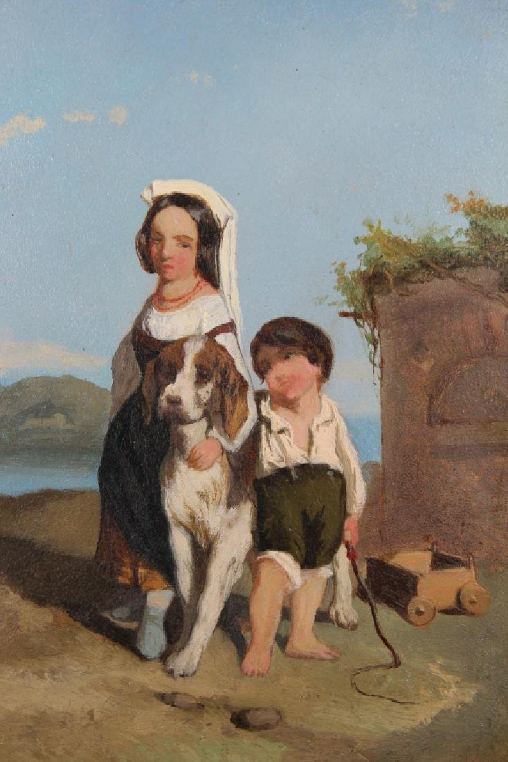 19th C. Painting of a Young Girl & Boy with Dog - 2