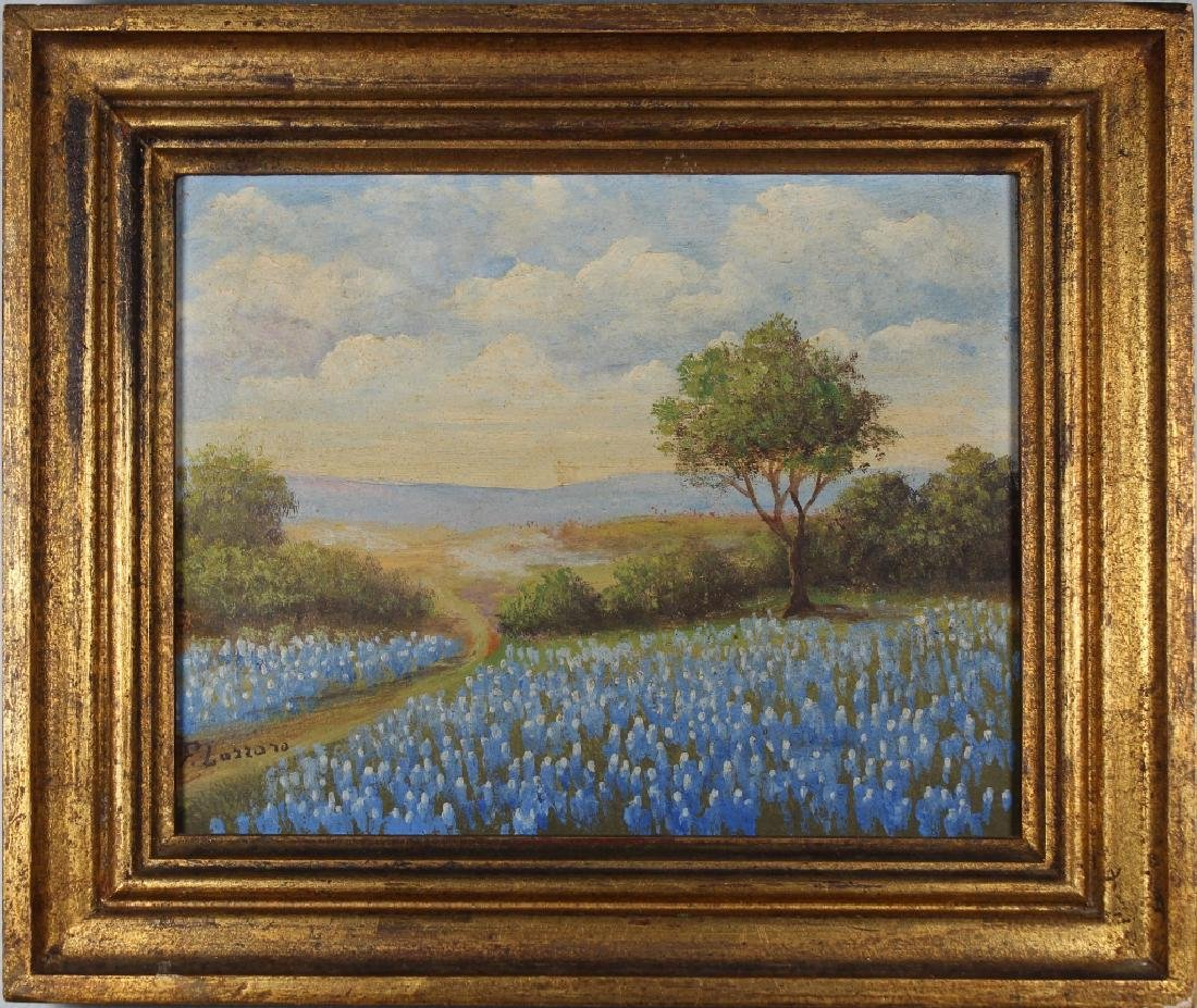 F. Lazzaro, Painting of a Field of Bluebonnets