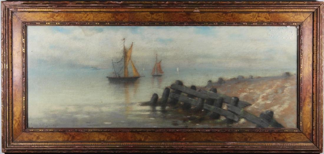 Early 20th C. Coastal Scene w/ Sailboats, Signed