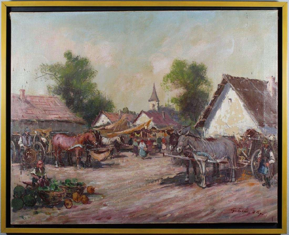 20th C. European School Village Scene w/ Figures