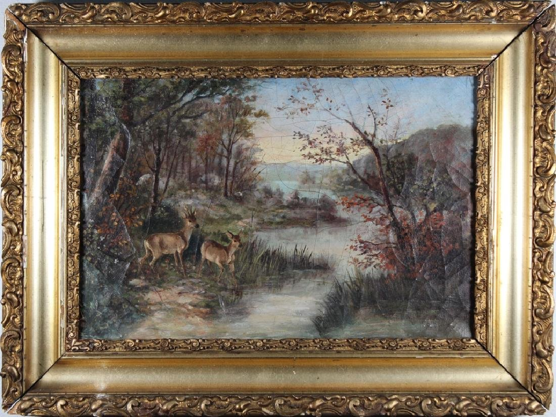 American School, 19th C. Painting of Deer