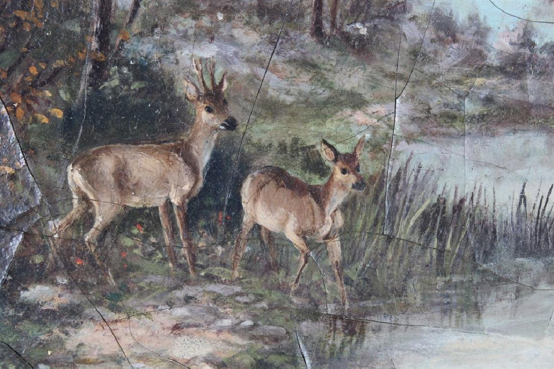 American School, 19th C. Painting of Deer - 2