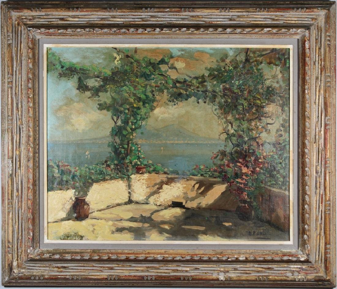 Vintage Painting of an Italian Terrace, Signed