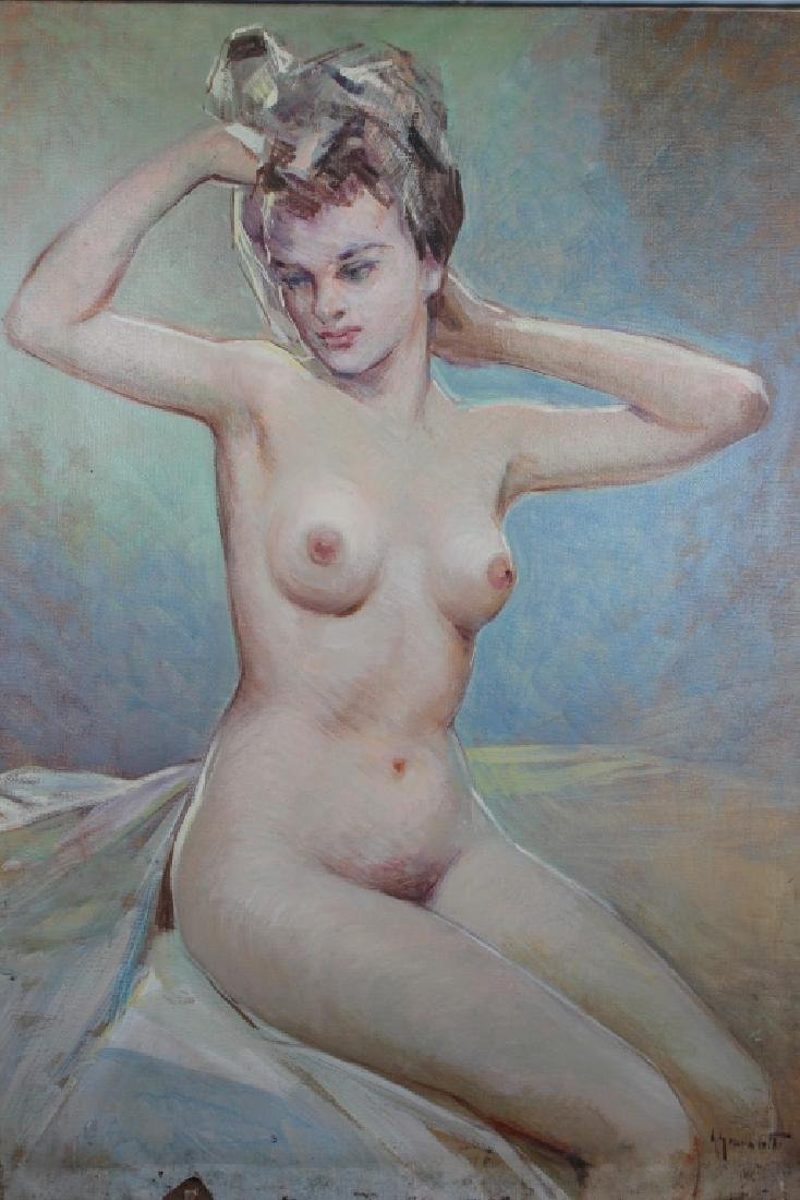 Signed, 20th C. Painting of Nude Woman