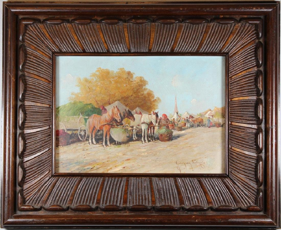 European School, 19th C. Painting of Market Scene
