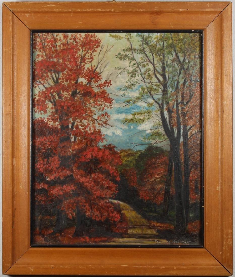 Signed, Vintage American School Autumnal Scene
