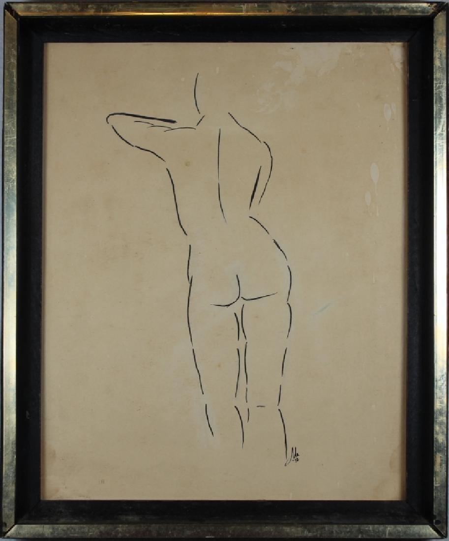 Signed, Vintage Backside Nude Figure Ink/paper