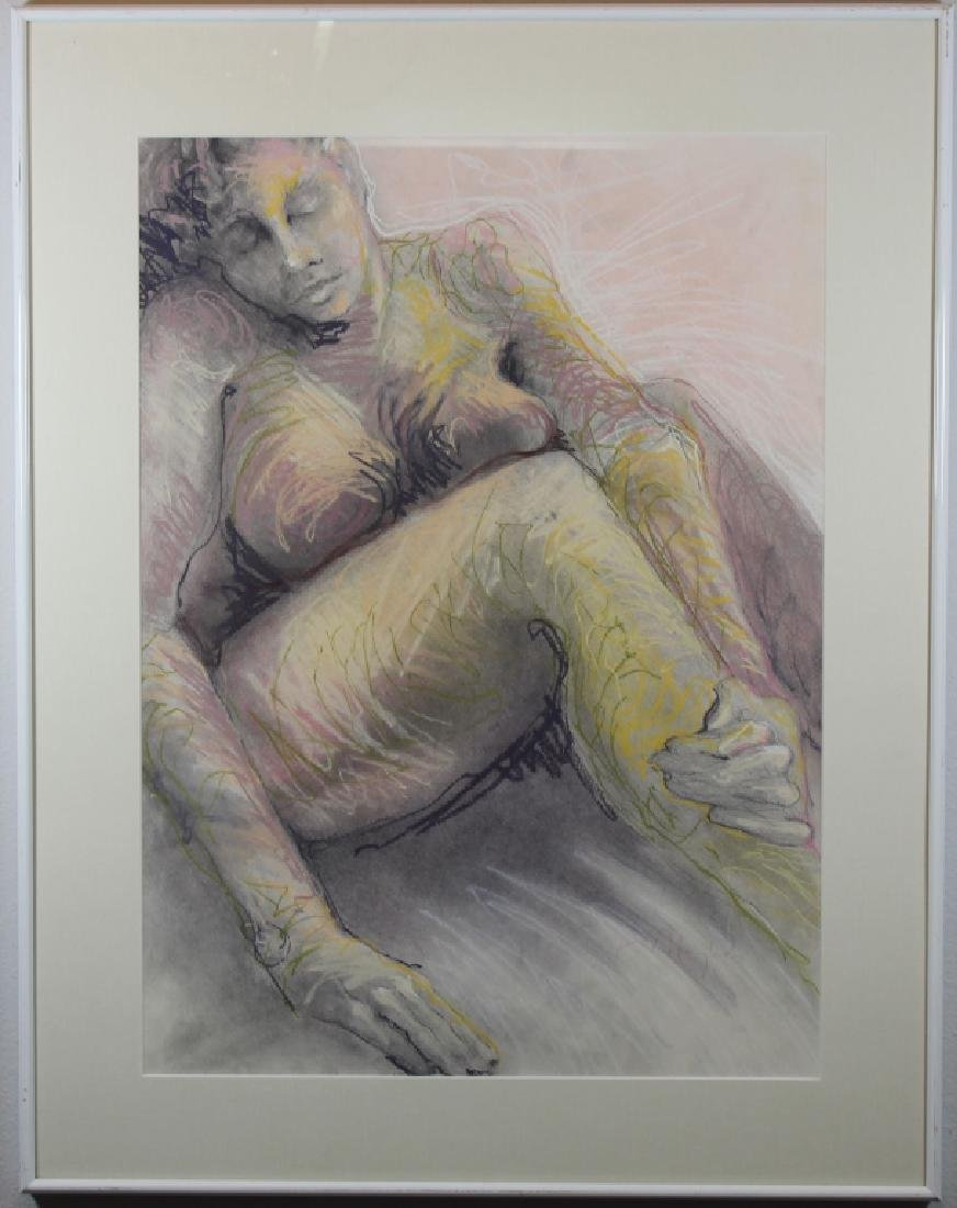 Signed, Vintage Pastel Painting of a Nude Woman