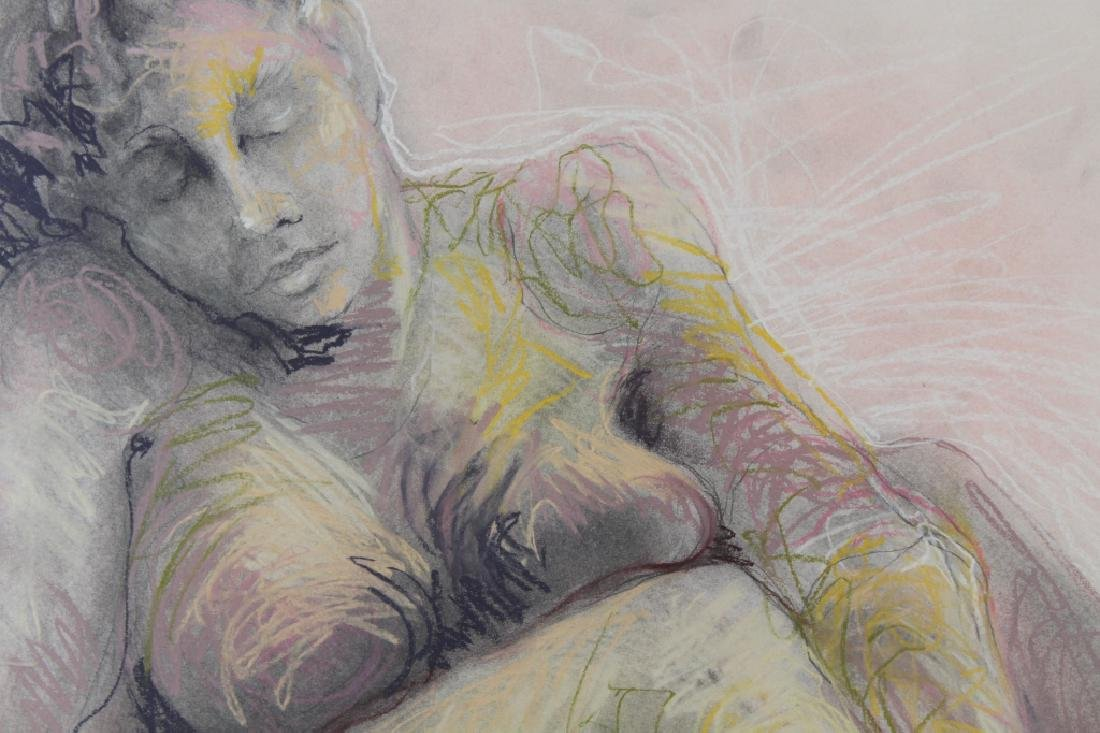 Signed, Vintage Pastel Painting of a Nude Woman - 2