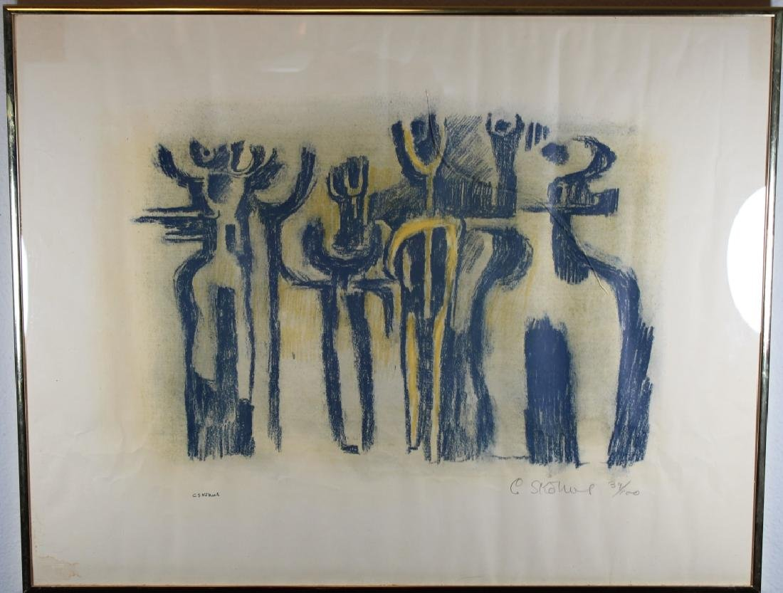 Vintage Figural Abstract Lithograph, New York